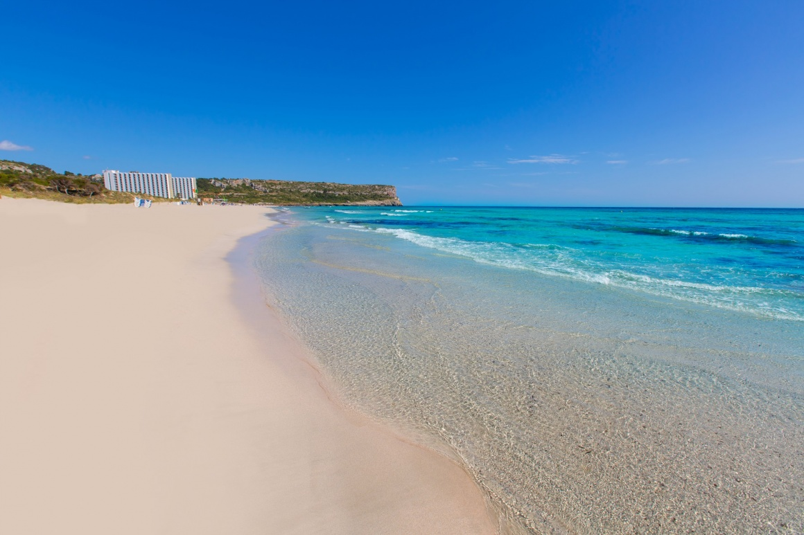 'Alaior Cala Son Bou in Menorca turquoise beach at Balearic islands' - Menorca